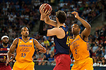 Herbalife Gran Canaria's players Eulis Baez and Richard Hendrix and FC Barcelona Lassa player Ante Tomic during the final of Supercopa of Liga Endesa Madrid. September 24, Spain. 2016. (ALTERPHOTOS/BorjaB.Hojas)