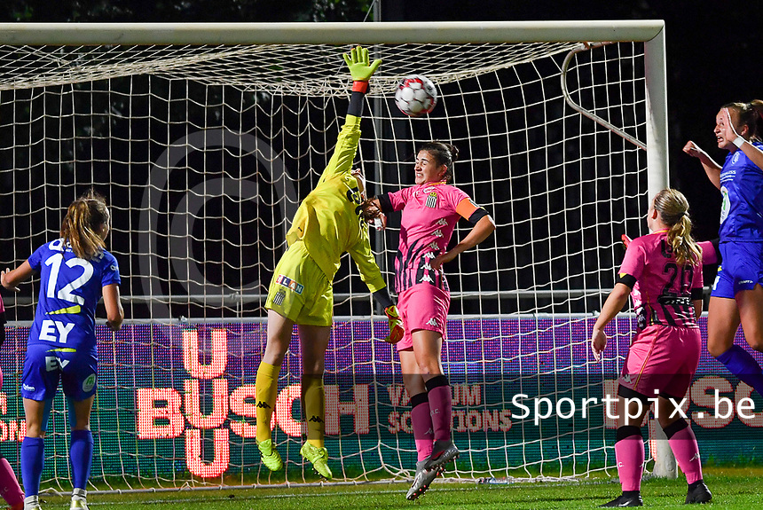 goalkeeper Ambre Collet (1 Charleroi) pictured with the save in front of Noemie Fourdin (11 Charleroi) during a female soccer game between  AA Gent Ladies and Sporting Charleroi Feminin on the fifth matchday of the 2020 - 2021 season of Belgian Scooore Womens Super League , friday 16 th of October 2020  in Oostakker , Belgium . PHOTO SPORTPIX.BE | SPP | DAVID CATRY