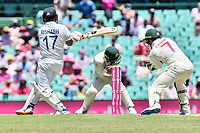 9th January 2021; Sydney Cricket Ground, Sydney, New South Wales, Australia; International Test Cricket, Third Test Day Three, Australia versus India; Manish Pandey of India hit a shot as Matthew Wade of Australia the ball is caught by  Tim Paine of Australia