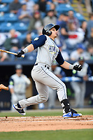 Columbia Fireflies left fielder Matt Winaker (5) swings at a pitch during a game against the Asheville Tourists at McCormick Field on April 12, 2018 in Asheville, North Carolina. The Fireflies defeated the Tourists 7-5. (Tony Farlow/Four Seam Images)