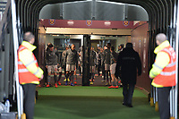 Liverpool arrive on the pitch during West Ham United vs Liverpool, Premier League Football at The London Stadium on 4th February 2019