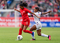 CARSON, CA - FEBRUARY 9: Jayde Riviere #8 of Canada moves past Crystal Dunn #19 of the United States during a game between Canada and USWNT at Dignity Health Sports Park on February 9, 2020 in Carson, California.