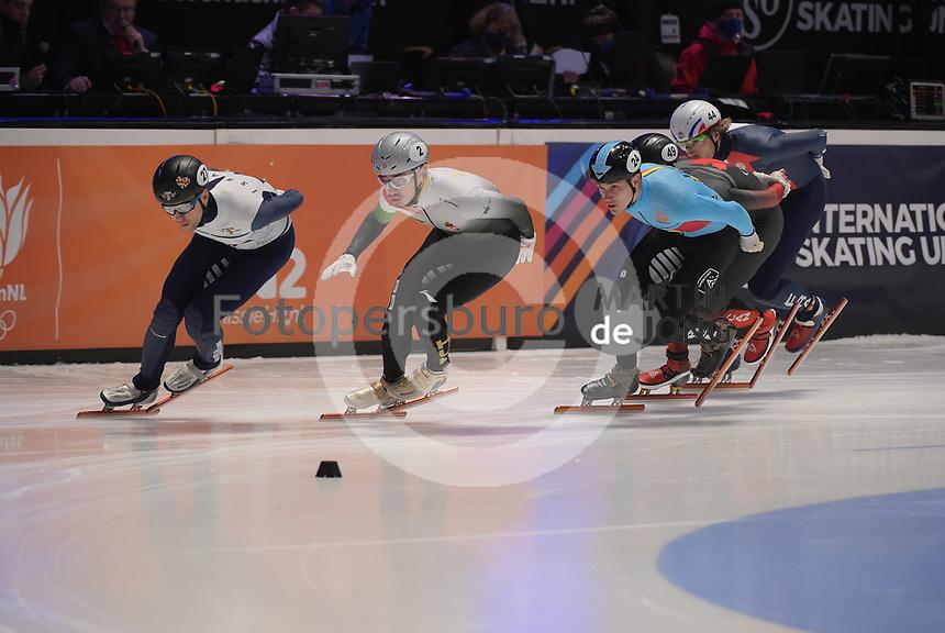 SPEEDSKATING: DORDRECHT: 06-03-2021, ISU World Short Track Speedskating Championships, SF 1500m Men, Vladislav Bykanov (ISR), Shaolin Sandor Liu (HUN), Stijn Desmet (BEL), ©photo Martin de Jong