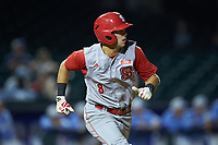Will Wilson (8) of the North Carolina State Wolfpack hustles down the first base line against the North Carolina Tar Heels in Game Twelve of the 2017 ACC Baseball Championship at Louisville Slugger Field on May 26, 2017 in Louisville, Kentucky. The Tar Heels defeated the Wolfpack 12-4. (Brian Westerholt/Four Seam Images)