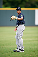 Pulaski Yankees pitcher Gilmael Troya (28) warms up before a game against the Greeneville Reds on July 27, 2018 at Pioneer Park in Tusculum, Tennessee.  Greeneville defeated Pulaski 3-2.  (Mike Janes/Four Seam Images)