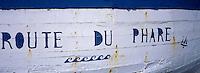 Europe/France/Bretagne/29/Finistère/L'Aber Wrach/Lilia: Détail de la peinture d'un vieux canot
