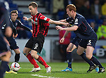 Ross County v St Johnstone....07.04.15   SPFL<br /> Steven MacLean holds off Scott Boyd<br /> Picture by Graeme Hart.<br /> Copyright Perthshire Picture Agency<br /> Tel: 01738 623350  Mobile: 07990 594431
