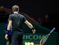 Februari 11, 2015, Netherlands, Rotterdam, Ahoy, ABN AMRO World Tennis Tournament, Andy Murray (GBR) throws his racket in his match against Nicolas Mahut (FRA)<br /> Photo: Tennisimages/Henk Koster