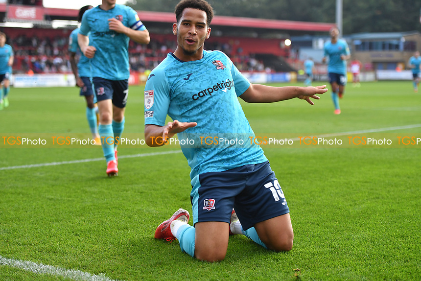Sam Nombe of Exeter City scores the first Goal and celebrates  during Stevenage vs Exeter City, Sky Bet EFL League 2 Football at the Lamex Stadium on 9th October 2021