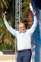 The candidate mayor of Rome for the right wing Enrico Michetti on the stage at the meeting of Fratelli d'Italia right party titled 'the Italy of the ransom' in Piazza del Popolo outing the election campaign for the mayor of Rome. <br /> Rome (Italy), September 18th 2021<br /> Photo Samantha Zucchi Insidefoto