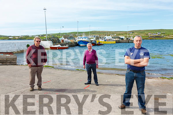 Skellig  Boat operators and Skellig Experience Manager at Portmagee call to reopen the Skelligs as soon as its safe to do so, pictured here l-r; Pat Joe Murphy, Johnny O'Sullivan(Skellig Experience) & Paul Devane.