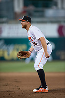 Fresno Grizzlies first baseman AJ Reed (18) during a Pacific Coast League game against the Salt Lake Bees at Chukchansi Park on May 14, 2018 in Fresno, California. Fresno defeated Salt Lake 4-3. (Zachary Lucy/Four Seam Images)