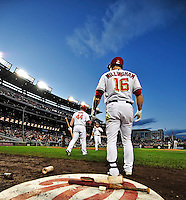 30 September 2009: Washington Nationals' outfielder Josh Willingham stands on deck with Adam Dunn going to bat during a game against the New York Mets at Nationals Park in Washington, DC. The Nationals rallied in the bottom of the 9th inning on Justin Maxwell's walk-off Grand Slam to win 7-4 and sweep the Mets 3-game series capping the Nationals' 2009 home season. Mandatory Credit: Ed Wolfstein Photo