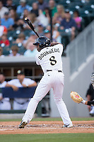 Jason Bourgeois (8) of the Charlotte Knights at bat against the Indianapolis Indians at BB&T BallPark on June 17, 2016 in Charlotte, North Carolina.  The Knights defeated the Indians 4-0.  (Brian Westerholt/Four Seam Images)
