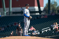 Surprise Saguaros starting pitcher Scott Blewett (32), of the Kansas City Royals organization, gets ready to deliver a pitch during an Arizona Fall League game against the Mesa Solar Sox at Sloan Park on November 1, 2018 in Mesa, Arizona. Surprise defeated Mesa 5-4 . (Zachary Lucy/Four Seam Images)