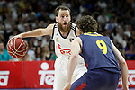 Real Madrid's Sergio Rodriguez (l) and FC Barcelona's Marcelinho Huertas during Liga Endesa ACB 2nd Final Match.June 21,2015. (ALTERPHOTOS/Acero)