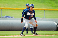 Kevin Kiermaier (39) of the Durham Bulls takes his lead off of third base against the Charlotte Knights at Knights Stadium on August 18, 2013 in Fort Mill, South Carolina.  The Bulls defeated the Knights 8-5 in Game One of a double-header.  (Brian Westerholt/Four Seam Images)