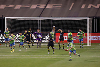COLUMBUS, OH - DECEMBER 12: Stefan Frei #24 of Seattle Sounders FC grabs the ball after saving a goal against Columbus Crew during a game between Seattle Sounders FC and Columbus Crew at MAPFRE Stadium on December 12, 2020 in Columbus, Ohio.