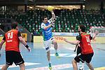 Nemanja Zelenovic (FAG) am Ball beim Spiel in der Handball Bundesliga, Frisch Auf Goeppingen - Fuechse Berlin.<br /> <br /> Foto © PIX-Sportfotos *** Foto ist honorarpflichtig! *** Auf Anfrage in hoeherer Qualitaet/Aufloesung. Belegexemplar erbeten. Veroeffentlichung ausschliesslich fuer journalistisch-publizistische Zwecke. For editorial use only.