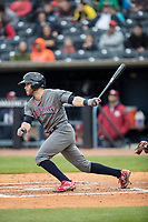 Lehigh Valley IronPigs third baseman Taylor Featherston (6) follows through on his swing against the Toledo Mud Hens during the International League baseball game on April 30, 2017 at Fifth Third Field in Toledo, Ohio. Toledo defeated Lehigh Valley 6-4. (Andrew Woolley/Four Seam Images)