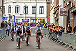 Team Sunweb arrive at sign on before La Fleche Wallonne 2020, running 202km from Herve to Mur de Huy, Belgium. 30th September 2020.<br /> Picture: ASO/Gautier Demouveaux   Cyclefile<br /> All photos usage must carry mandatory copyright credit (© Cyclefile   ASO/Gautier Demouveaux)