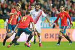 Spain's Luis Alberto Romero (l), Saul Niguez (b) and Marco Asensio (r) and Costa Rica's Giancarlo Gonzalez during international friendly match. November 11,2017.(ALTERPHOTOS/Acero)