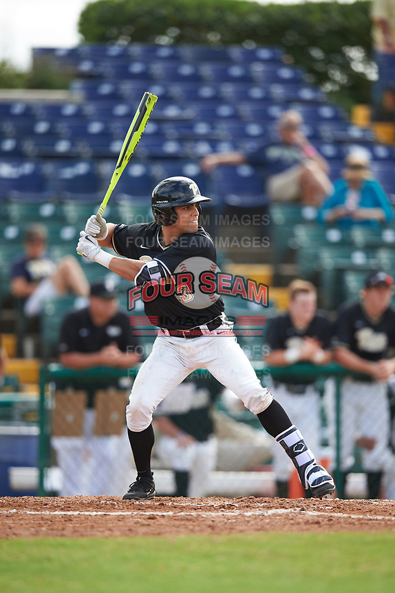 Pittsburgh Panthers center fielder Frank Maldonado (3) at bat during a game against the Siena Saints on February 24, 2017 at Historic Dodgertown in Vero Beach, Florida.  Pittsburgh defeated Siena 8-2.  (Mike Janes/Four Seam Images)