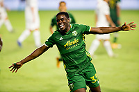 CARSON, CA - OCTOBER 07: Larrys Mabiala #33 of the Portland Timbers celebrates his goal during a game between Portland Timbers and Los Angeles Galaxy at Dignity Heath Sports Park on October 07, 2020 in Carson, California.
