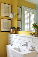 A vibrant yellow cloakroom with a tiled wall behind a wall mounted washbasin with a chrome tap. A window with shutters is reflected in the mirror above.