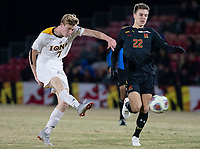 COLLEGE PARK, MD - NOVEMBER 21: Josh Plimpton #7 of Iona blasts a shot past Nick Richardson #22 of Maryland during a game between Iona College and University of Maryland at Ludwig Field on November 21, 2019 in College Park, Maryland.