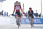 Race leader Tadej Pogacar (SLO) UAE Team Emirates wins ahead of Adam Yates (GBR) Ineos Grenadiers at the end of Stage 3 of the 2021 UAE Tour running 166km from Al Ain to Jebel Hafeet, Abu Dhabi, UAE. 23rd February 2021.  <br /> Picture: LaPresse/Fabio Ferrari | Cyclefile<br /> <br /> All photos usage must carry mandatory copyright credit (© Cyclefile | LaPresse/Fabio Ferrari)