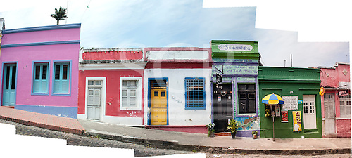 Olinda, Pernambuco State, Brazil. Rua Quinze de Novembro; colourful colonial shops in a stitched panorama.