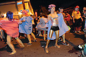 Woman in rollers in Krewe Delusion parade, Marigny, 2012