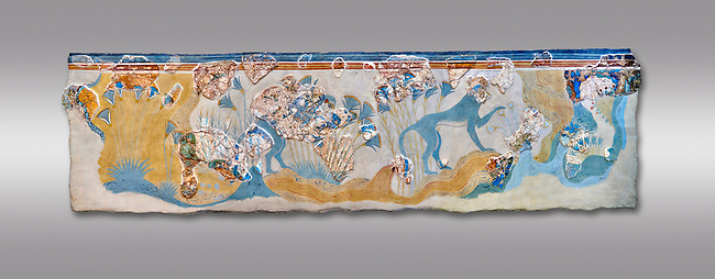 Minoan wall art depicting 'Blue Monkeys' from Knossos Palace, 1700-1450 BC. Heraklion Archaeological Museum.  Grey Background.