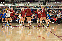 STANFORD, CA - NOVEMBER 17: Stanford, CA - November 17, 2019: Jenna Gray, Madeleine Gates, Meghan McClure, Morgan Hentz, Kate Formico, Kathryn Plummer at Maples Pavilion. #4 Stanford Cardinal defeated UCLA in straight sets in a match honoring neurodiversity. during a game between UCLA and Stanford Volleyball W at Maples Pavilion on November 17, 2019 in Stanford, California.