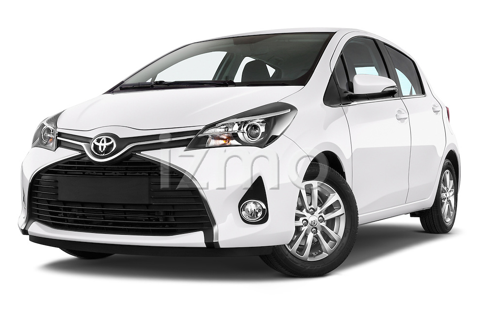 Stock pictures of low aggressive front three quarter view of a 2015 Toyota YARIS Dynamic 5 Door Hatchback 2WD Low Aggressive