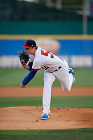 Buffalo Bisons starting pitcher Ryan Borucki (54) follows through on a warmup pitch during a game against the Pawtucket Red Sox on August 31, 2017 at Coca-Cola Field in Buffalo, New York.  Buffalo defeated Pawtucket 4-2.  (Mike Janes/Four Seam Images)