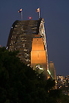 Sydney, New South Wales, Australia; Sydney Harbor Bridge, evening, viewed from stairs on Argyle Street © Matthew Meier, matthewmeierphoto.com All Rights Reserved