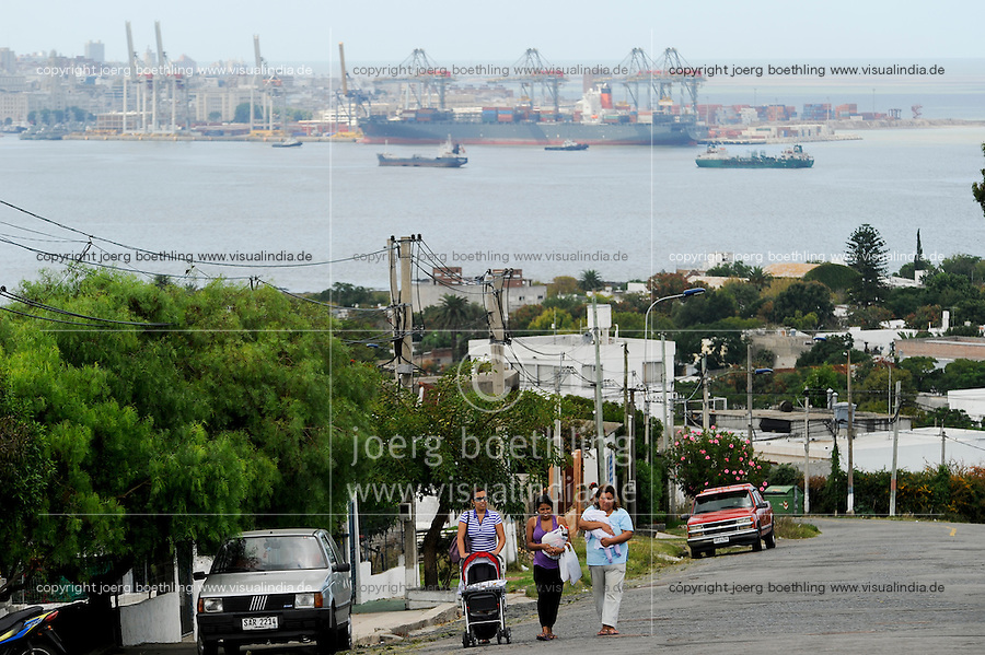 URUGUAY Montevideo, container harbour at Rio del la Plata and Atlantic ocean