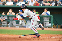 Southern Divisions center fielder Drew Waters (11) of the Rome Braves swings at a pitch during the South Atlantic League All Star Game at First National Bank Field on June 19, 2018 in Greensboro, North Carolina. The game Southern Division defeated the Northern Division 9-5. (Tony Farlow/Four Seam Images)