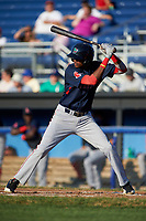 Lowell Spinners center fielder Yoan Aybar (22) at bat during a game against the Batavia Muckdogs on July 11, 2017 at Dwyer Stadium in Batavia, New York.  Lowell defeated Batavia 5-2.  (Mike Janes/Four Seam Images)