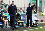 Hibs v St Johnstone…22.09.21  Easter Road.    SPFL<br />Managers Callum Davidson and Jack Ross on the touchline<br />Picture by Graeme Hart.<br />Copyright Perthshire Picture Agency<br />Tel: 01738 623350  Mobile: 07990 594431