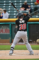 Miguel Olivo (30) of the Albuquerque Isotopes at bat against the Salt Lake Bees at Smith's Ballpark on April 21, 2014 in Salt Lake City, Utah.  (Stephen Smith/Four Seam Images)