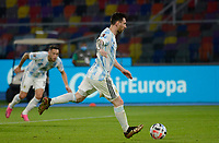3rd June 2021; Estadio Único de Santiago del Estero, Santiago del Estero, Argentina; World Cup football qualification, Argentina versus Chile; Lionel Messi of Argentina shoots and scores his penalty kick goal in the 24th minute for 1-0