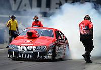 Jun. 16, 2012; Bristol, TN, USA: NHRA pro stock driver V. Gaines during qualifying for the Thunder Valley Nationals at Bristol Dragway. Mandatory Credit: Mark J. Rebilas-