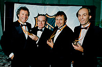 1988 FILE PHOTO - ARCHIVES -<br /> <br /> Left to right, Tony Esposito, Star sports columnist Jim Proudfoot, Brad Park and Guy Lafleur were inducted into the Hockey Hall of Fame yesterday. Proudfoot is the fourth Star writer in hall's media section.<br /> <br /> 1988<br /> <br /> PHOTO : Tony Bock  - Toronto Star Archives - AQP