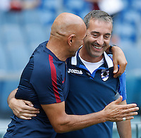 Calcio, Serie A: Roma vs Sampdoria. Roma, stadio Olimpico, 11 settembre 2016.<br /> Roma's coach Luciano Spalletti, left, greets Sampdoria Coach Marco Giampaolo prior to the start of the Italian Serie A football match between Roma and Sampdoria at Rome's Olympic stadium, 11 September 2016. Roma won 3-2.<br /> UPDATE IMAGES PRESS/Isabella Bonotto