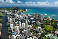 Waikiki aerial looking to Diamond Head with the Ala Wai Canal and Ft DeRussey