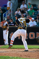 Aberdeen IronBirds Maverick Handley (48) at bat during a NY-Penn League game against the Vermont Lake Monsters on August 18, 2019 at Leidos Field at Ripken Stadium in Aberdeen, Maryland.  Vermont defeated Aberdeen 6-5.  (Mike Janes/Four Seam Images)