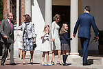 King Juan Carlos of Spain, Queen Sofia of Spain, King Felipe VI of Spain, Princess Leonor of Spain, Princess Sofia of Spain and Queen Letizia of Spain arrive at the Asuncion de Nuestra Senora Church for the First Communion of the Princess Leonor of Spain in Madrid, Spain. May 20, 2015. (ALTERPHOTOS/Victor Blanco)